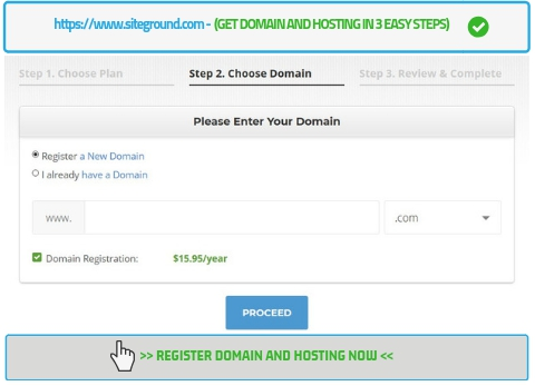 Get domain and hosting in 3 easy steps