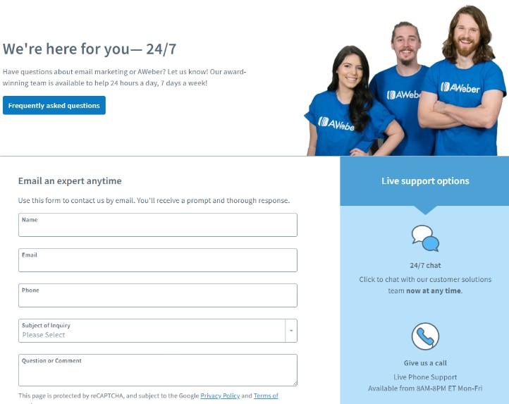 AWeber support